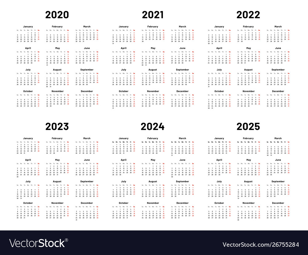 Calendar Grid 2020 2021 And 2022 Yearly Calendars