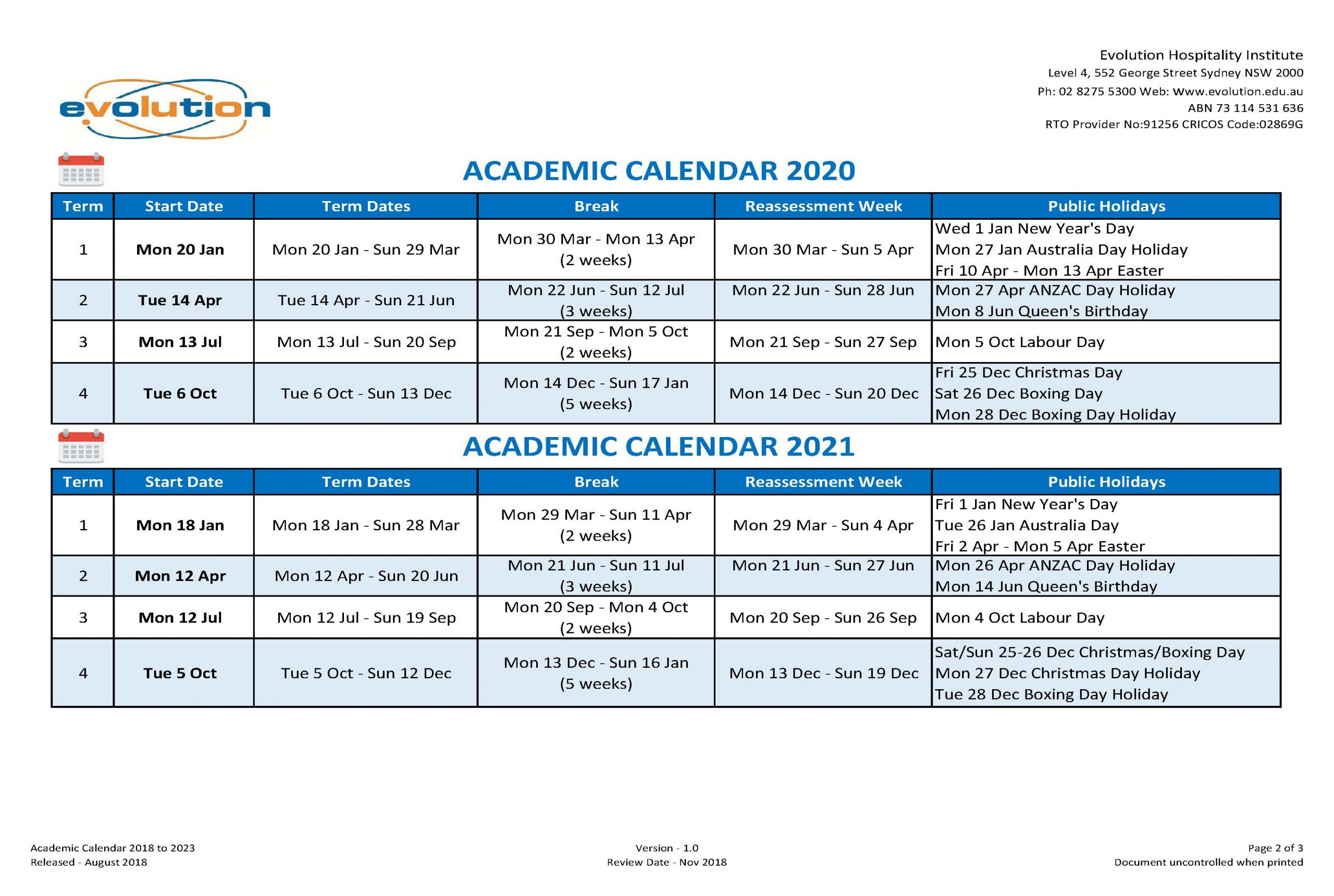 Calendar & Intake Dates   Ehi