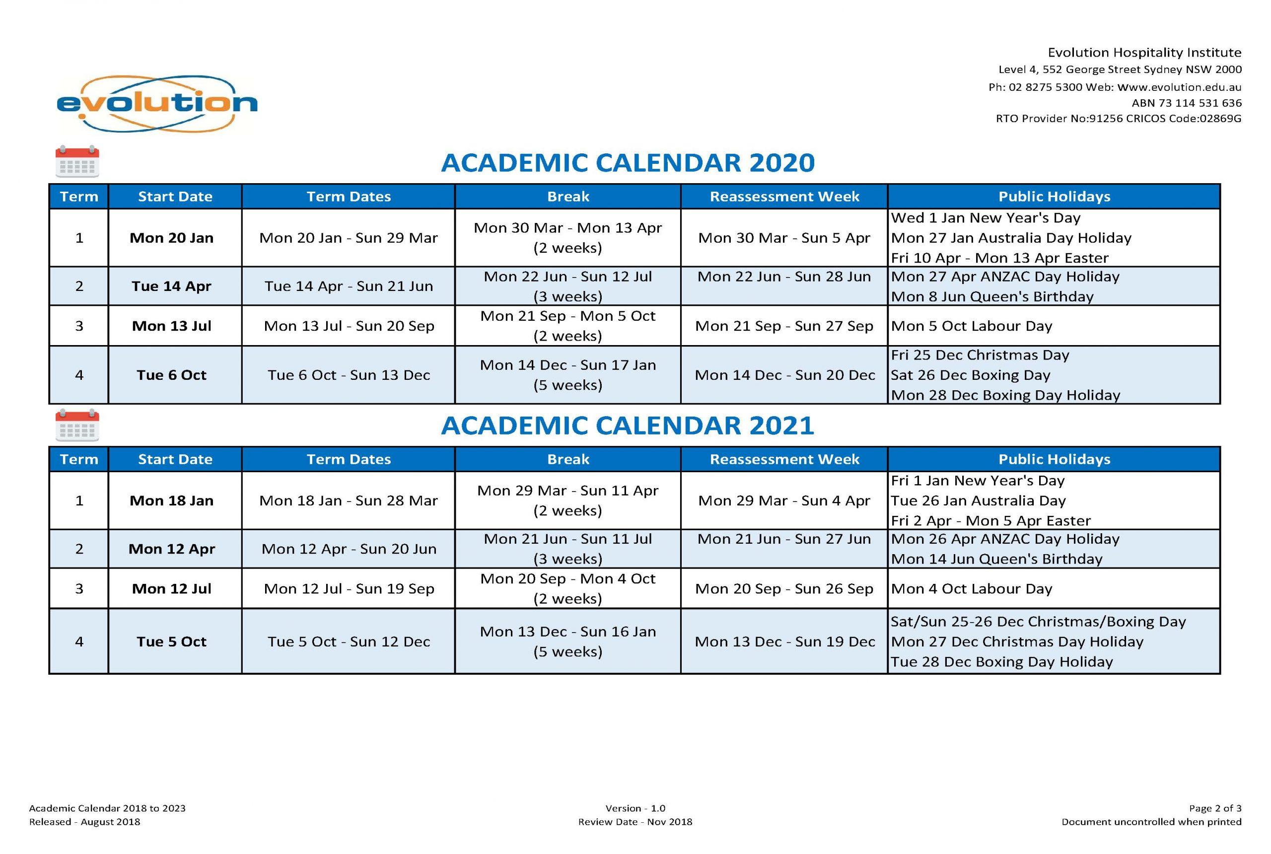 Calendar & Intake Dates | Ehi