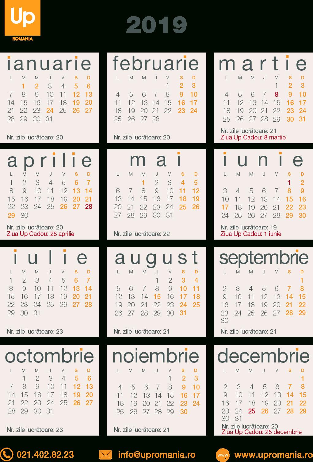 Calendar Zile Lucratoare 2020   Up Romania