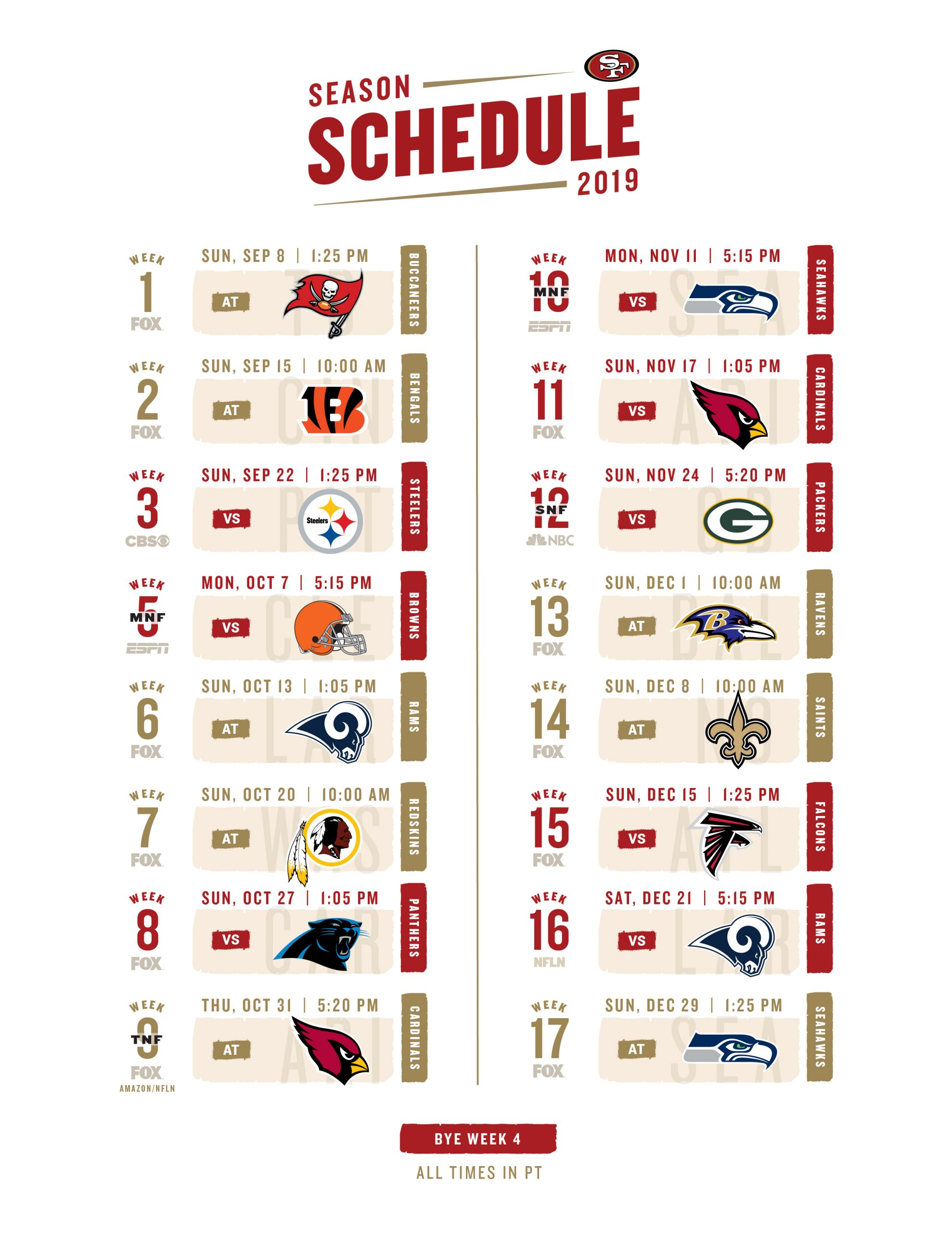 Click The Link Below For A Printable 2019 Schedule