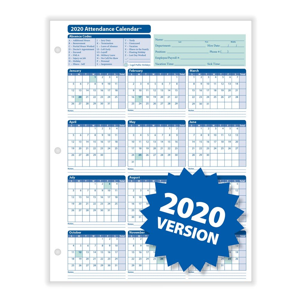 "Complyright 2020 Attendance Calendar, White, 8-1/2"" X 11"" - 50 Per Pack"