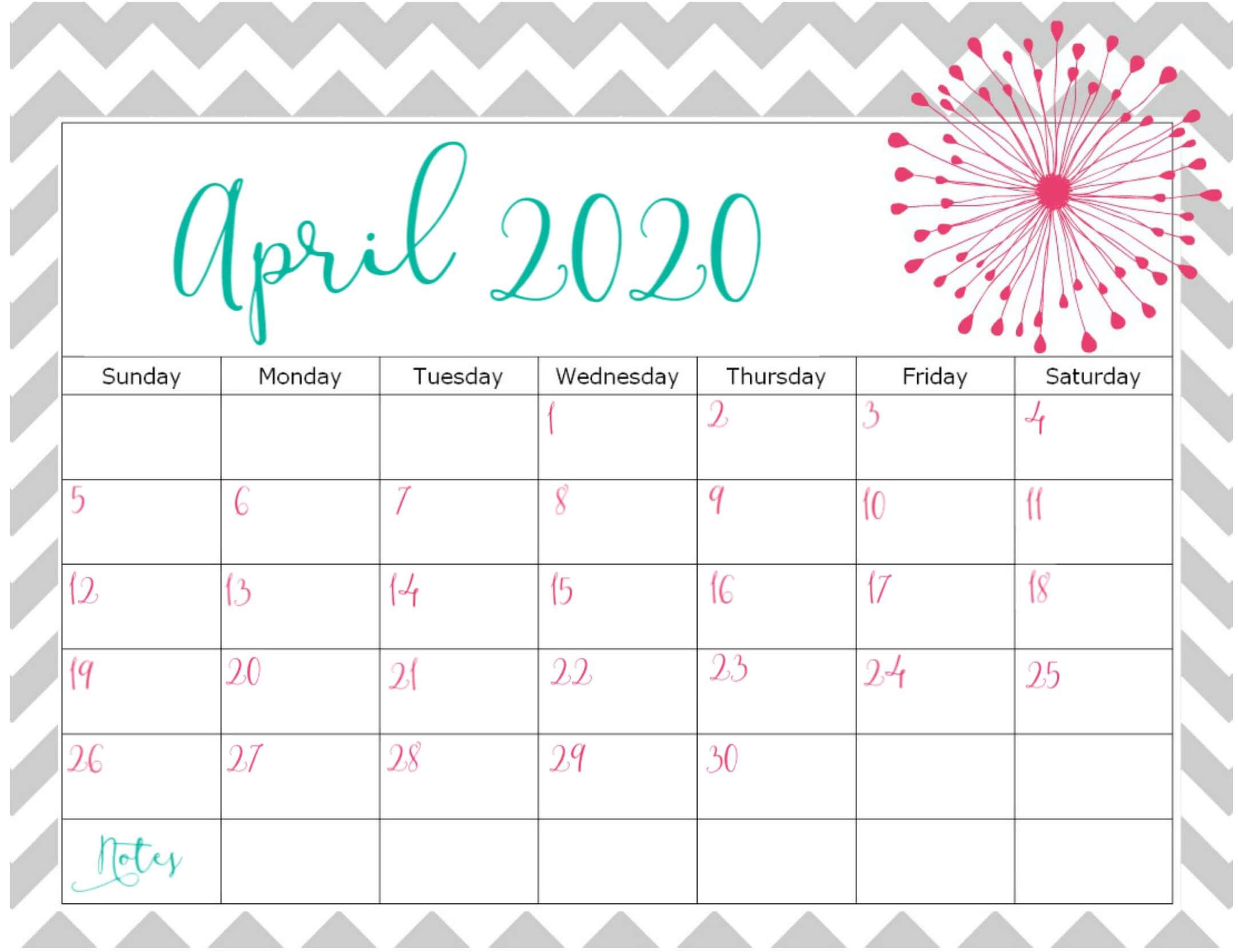 Cute April 2020 Calendar Design Printable With Notes