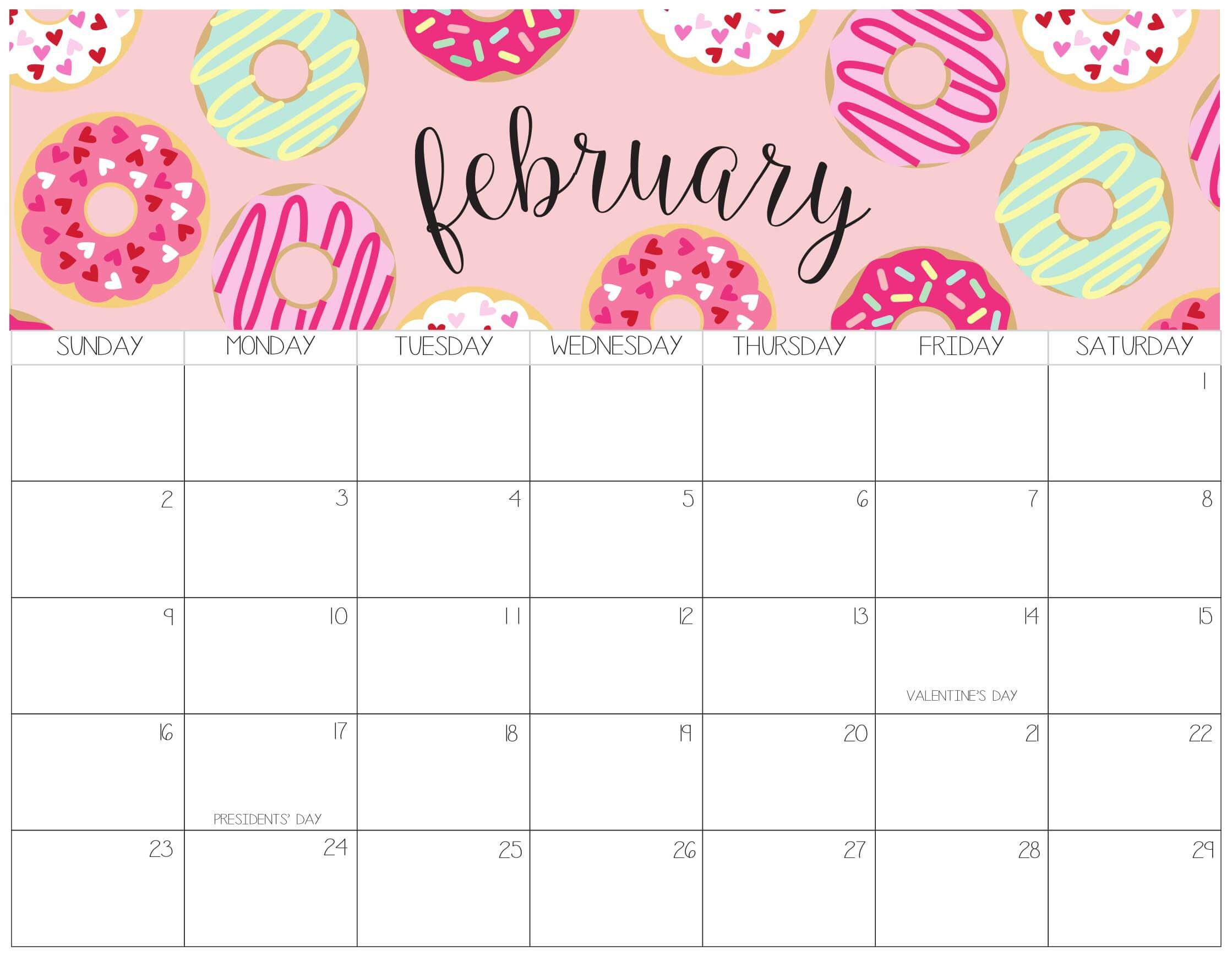 Cute February 2020 Calendar With Notes Printable - Set Your