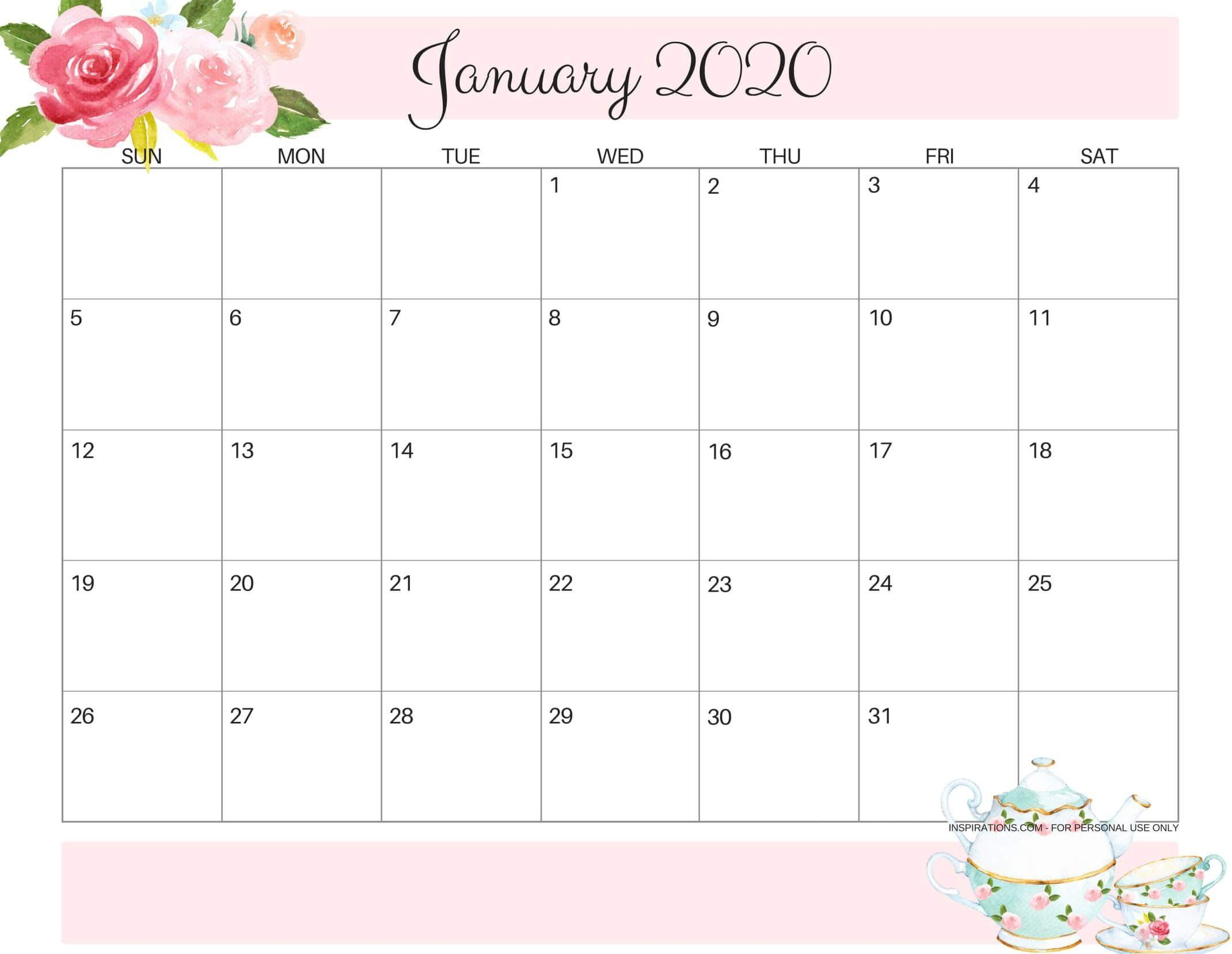 Cute January 2020 Calendar Design Printable Template - Set
