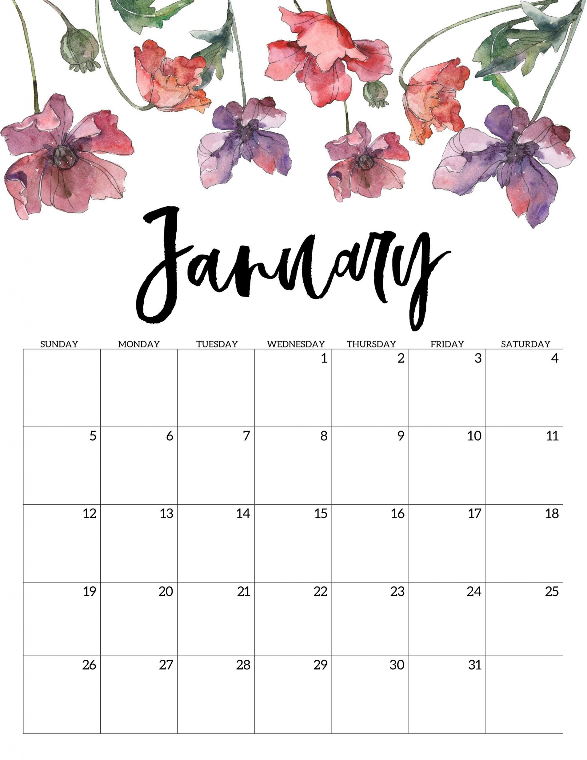 Cute January 2020 Calendar Printable Template | Print