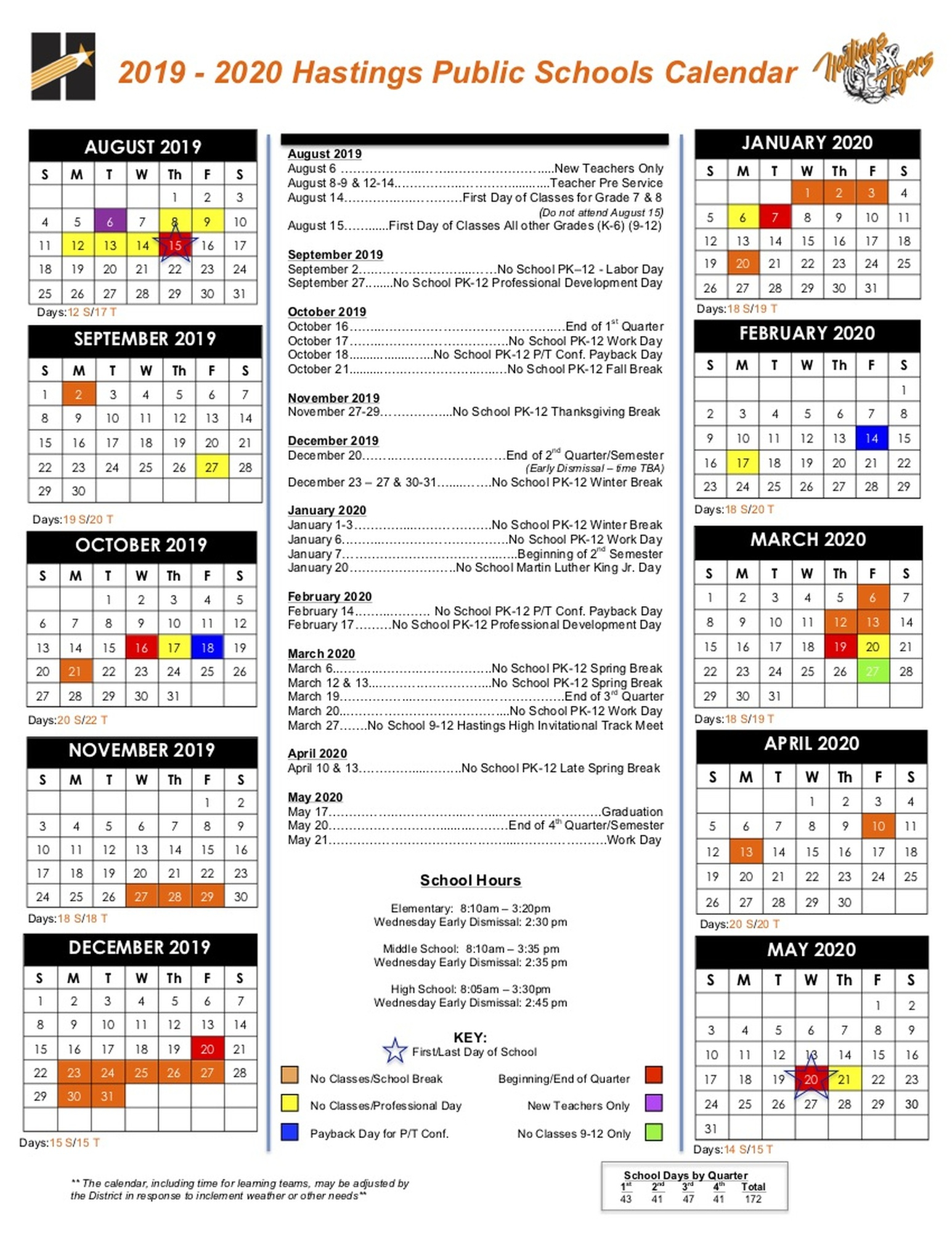 Days Of Attendance Calendar - Hastings Public Schools
