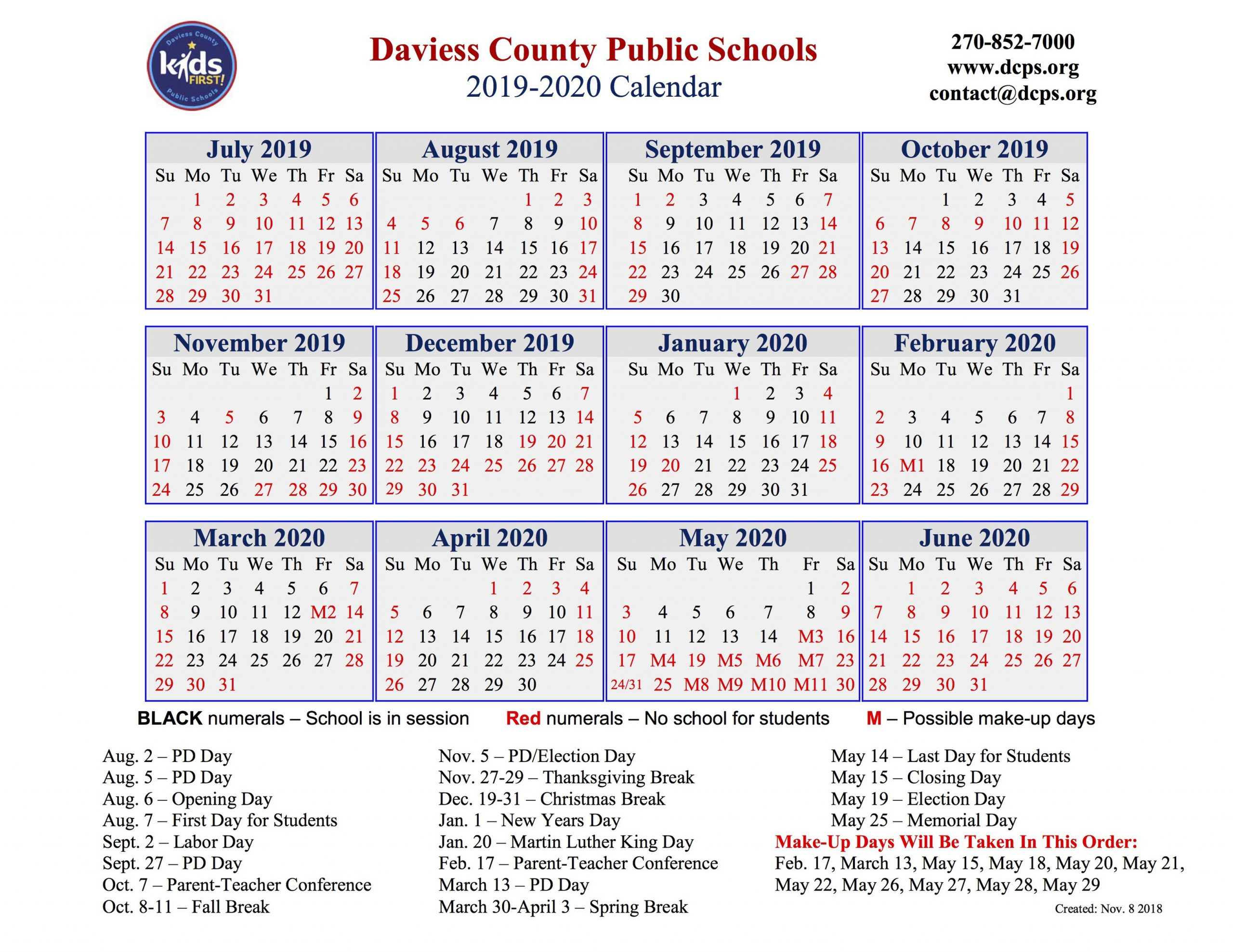 Dcps Approves 2019-2020 Calendar - The Owensboro Times