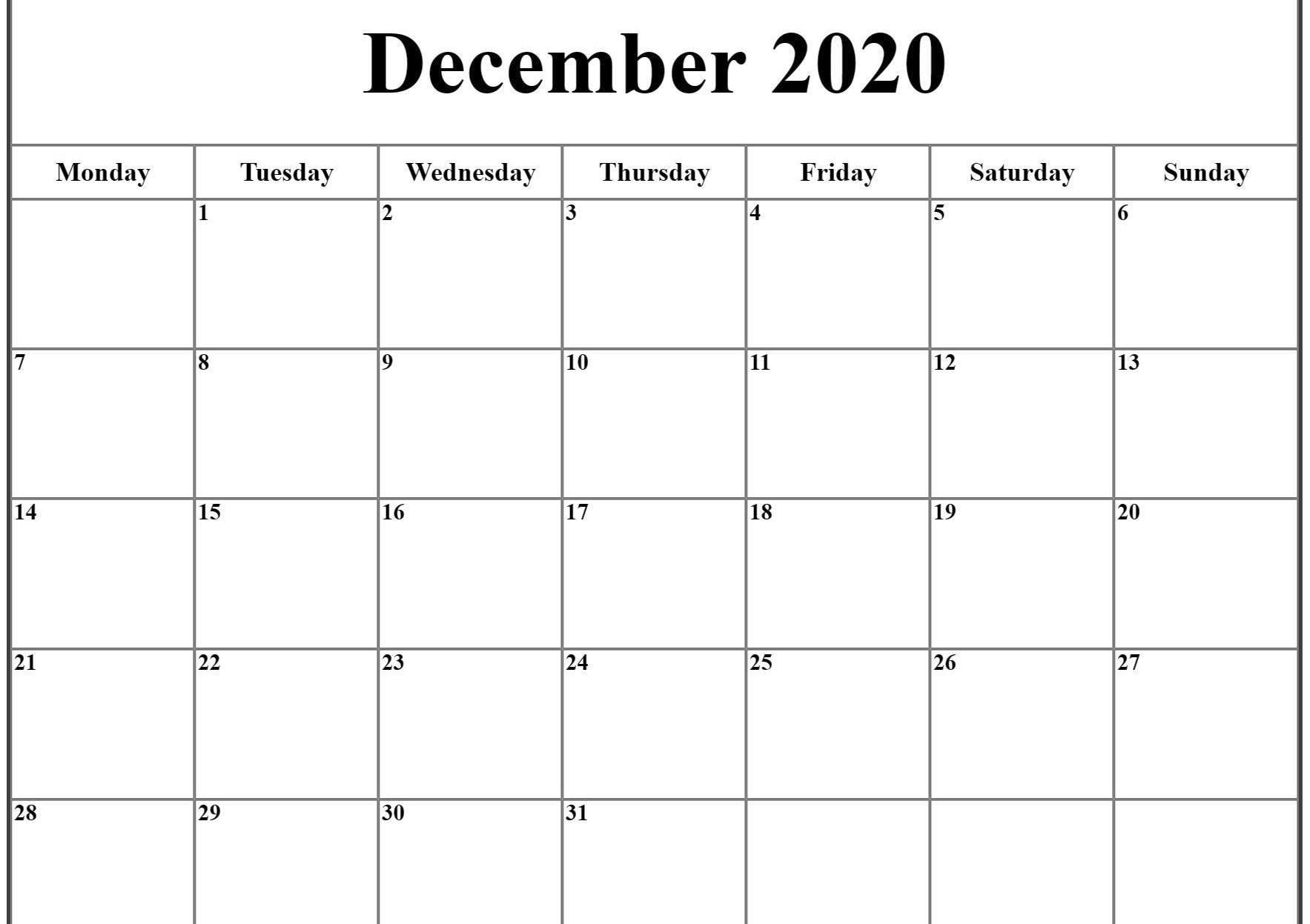 December 2020 Calendar Pdf, Word, Excel Template | Excel