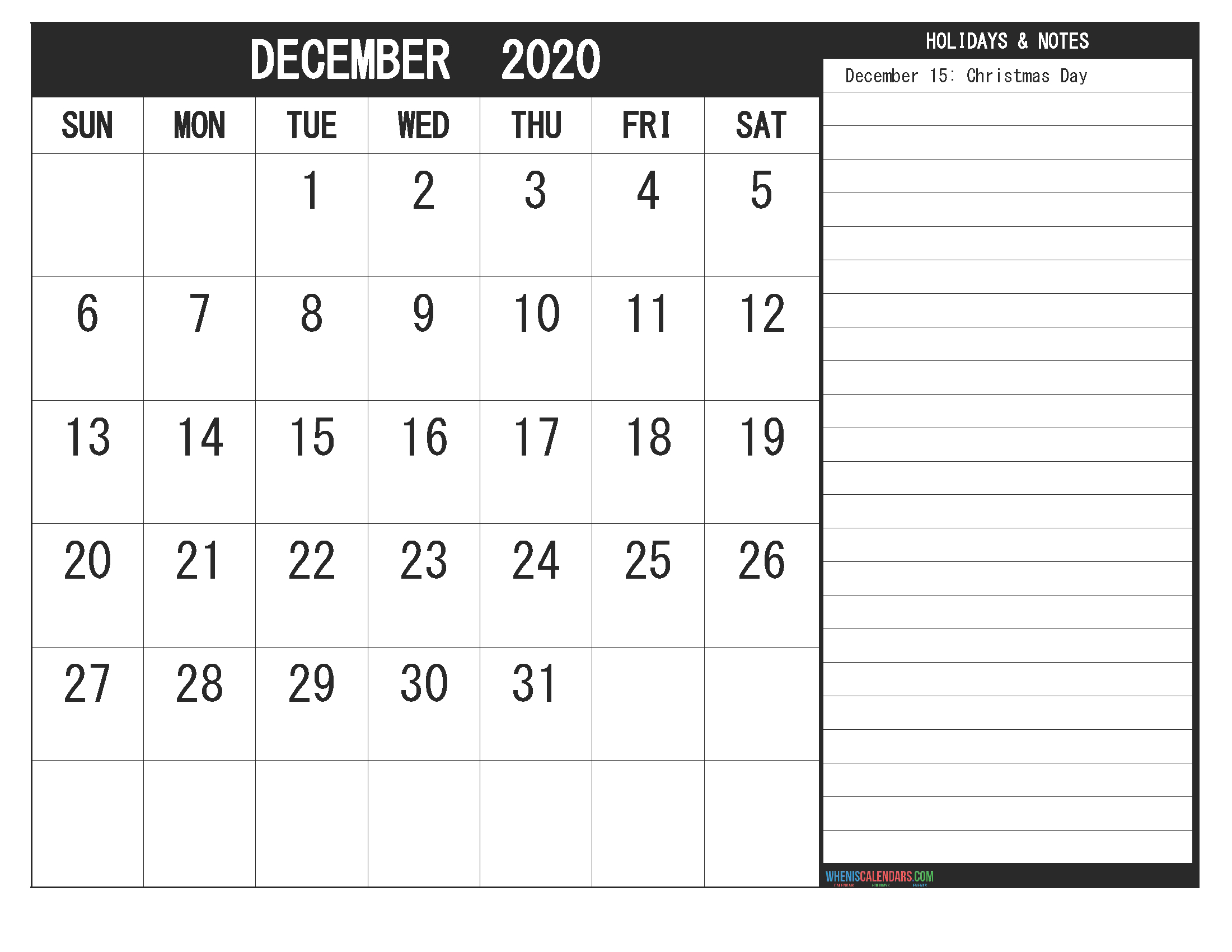 December 2020 Calendar With Holidays Free Printable | Free