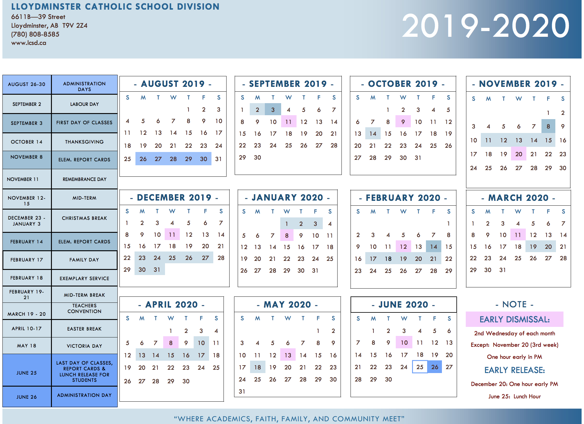 Division Calendar - Lloydminster Catholic School Division