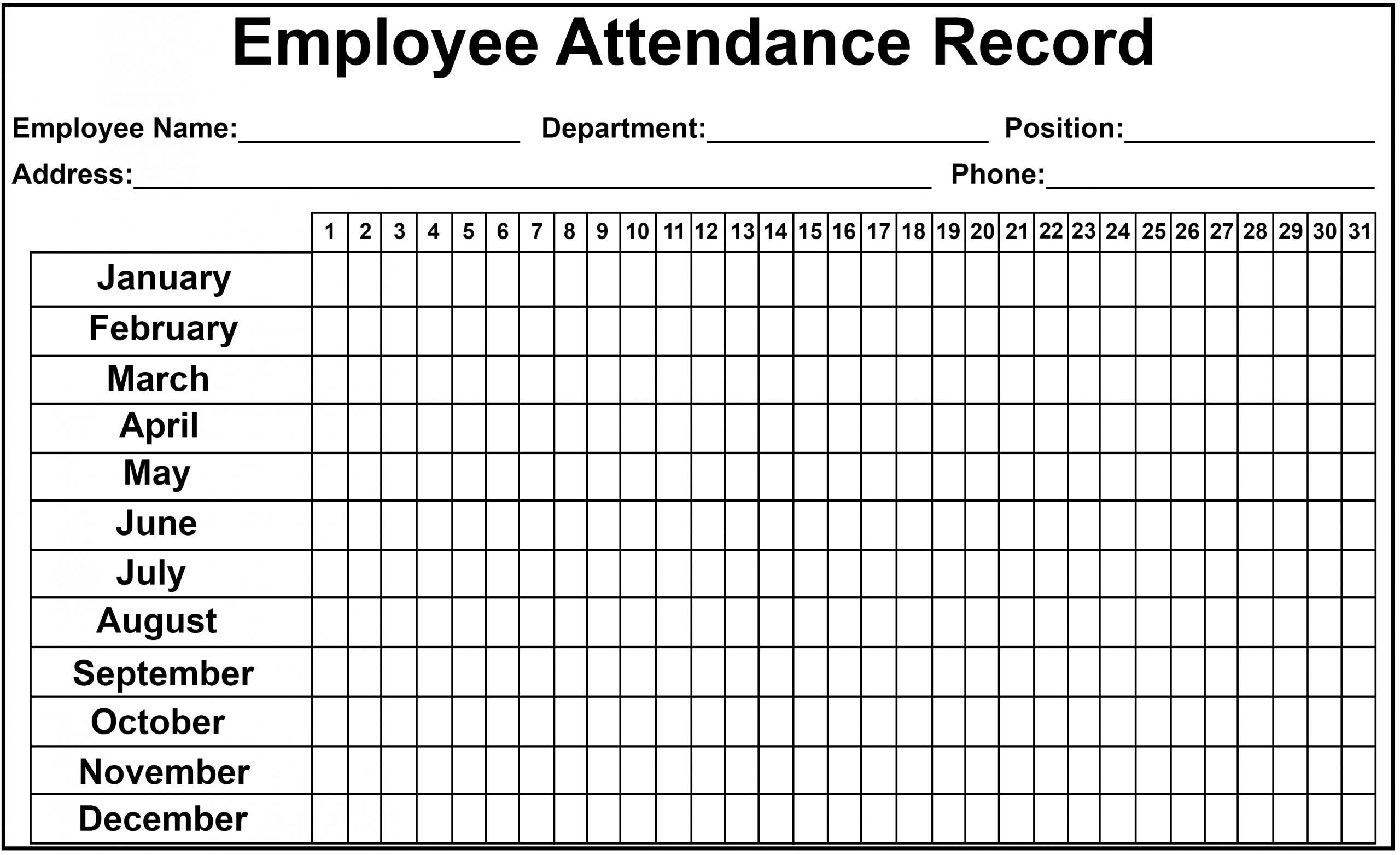 Employee Attendance Tracker Sheet 2019