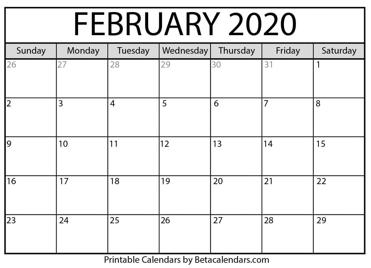 Feb 2020 Printable Calendar | Monthly Calendar Printable