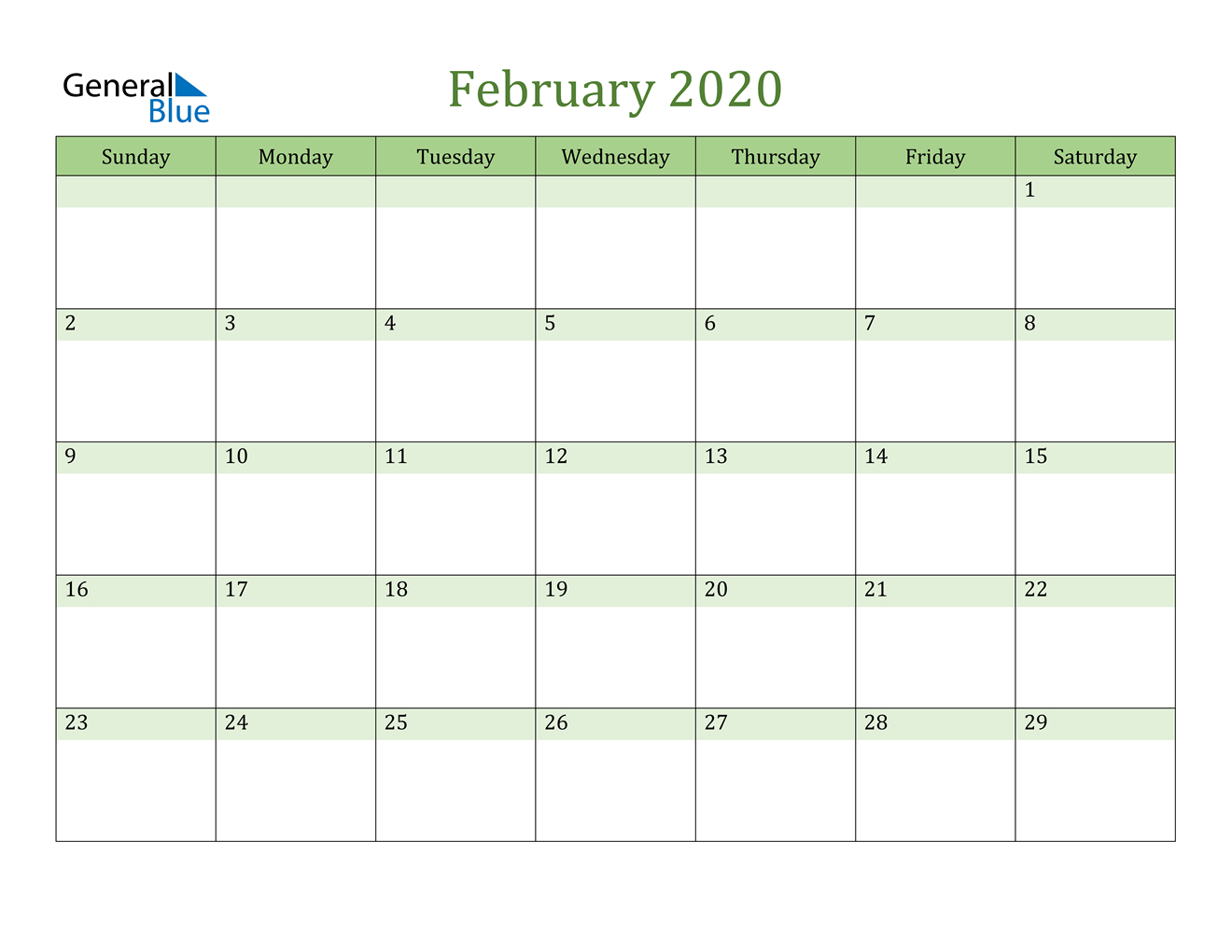 February 2020 Calendar - Pdf Word Excel