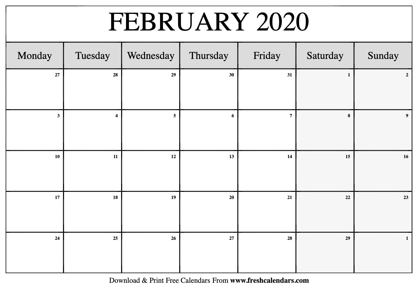 February 2020 Calendar Printable-Monthly Template 2020