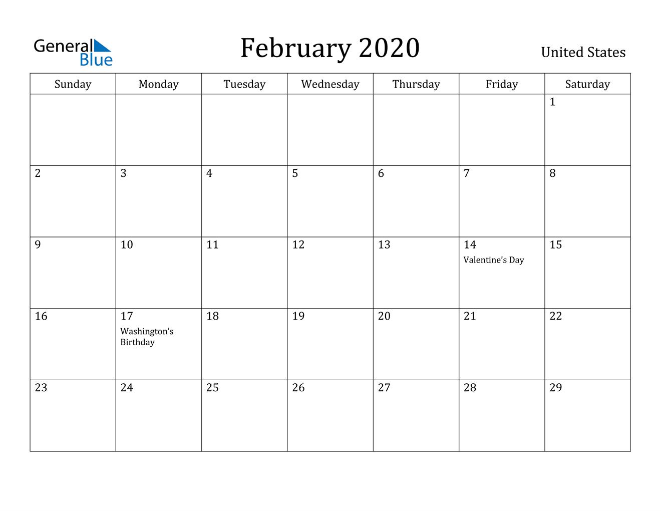 February 2020 Calendar - United States