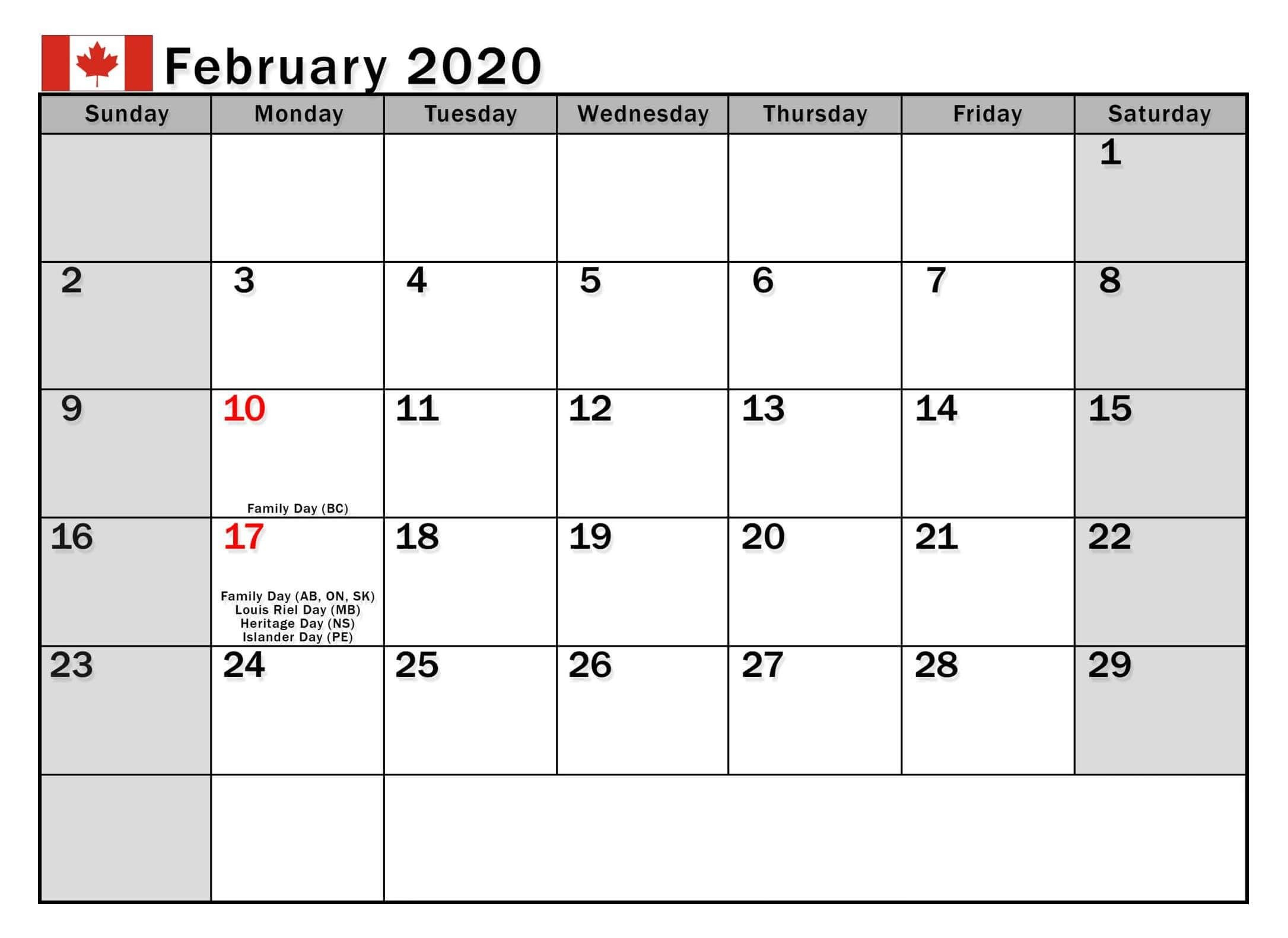 February 2020 Calendar With Holidays Us, Uk, Canada, India