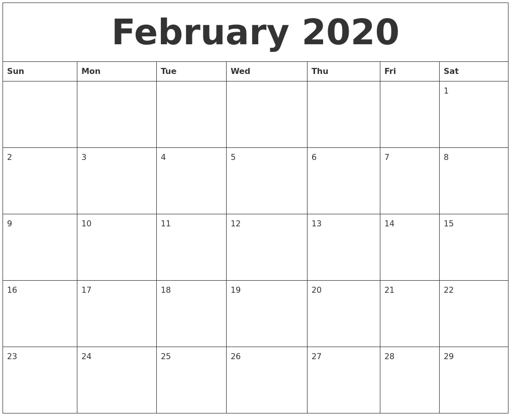 February 2020 Large Printable Calendar