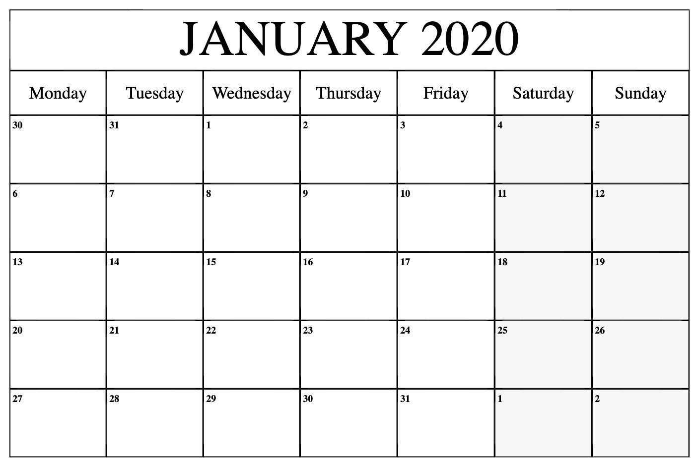 Fillable January 2020 Calendar Colorful Datesheets