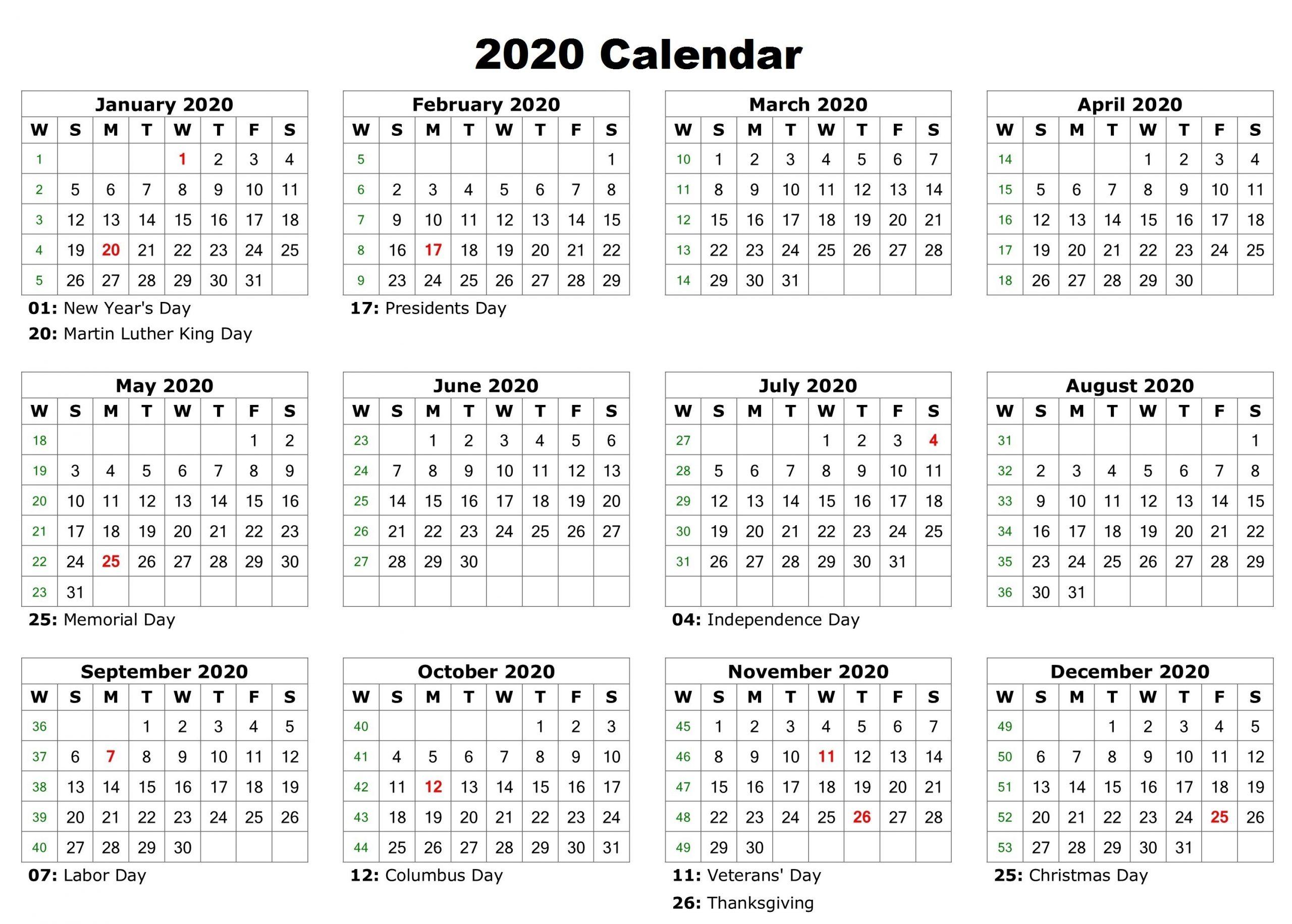 Free 12 Month 2020 Calendar With Holidays - Jackby - Medium