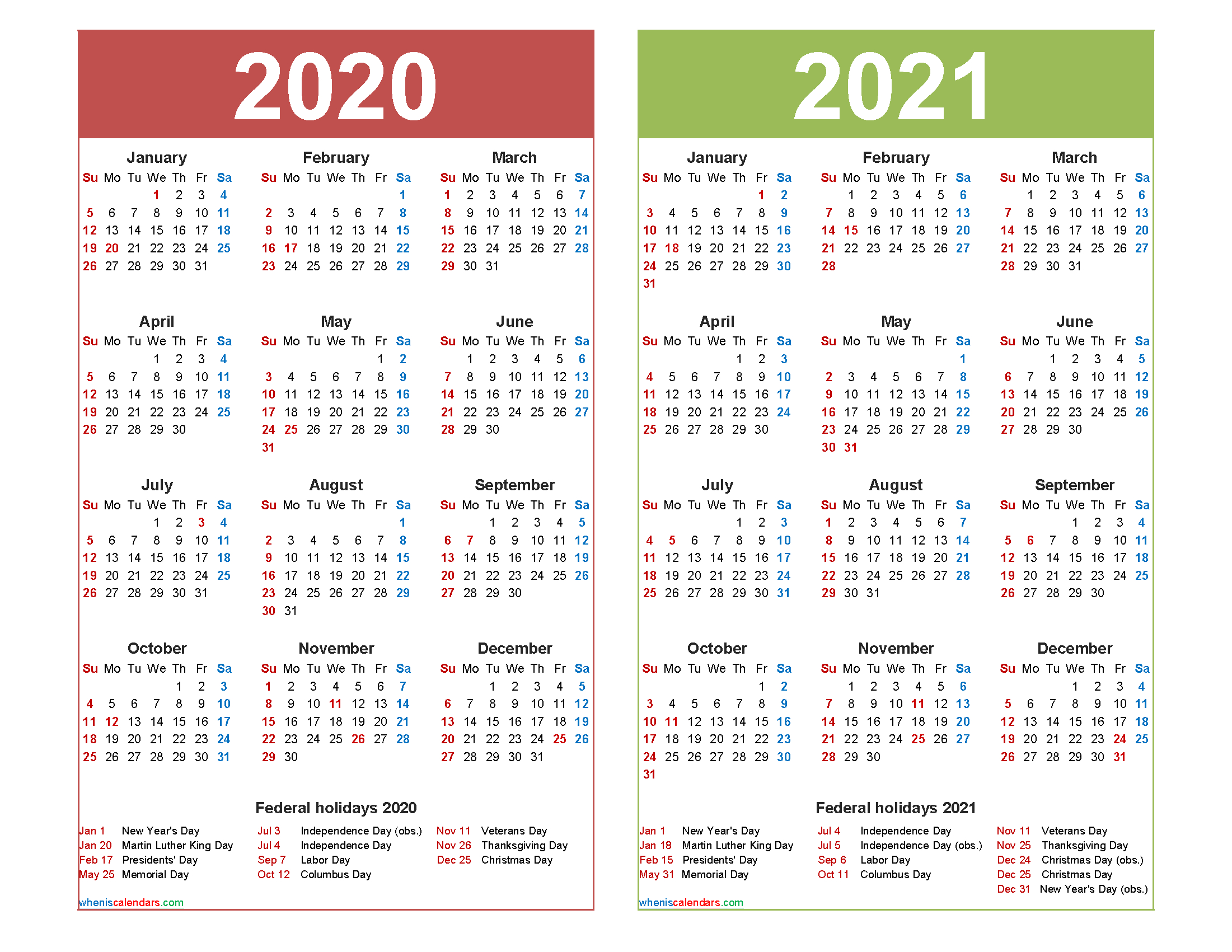 Free 2020 And 2021 Calendar Printable With Holidays | Free
