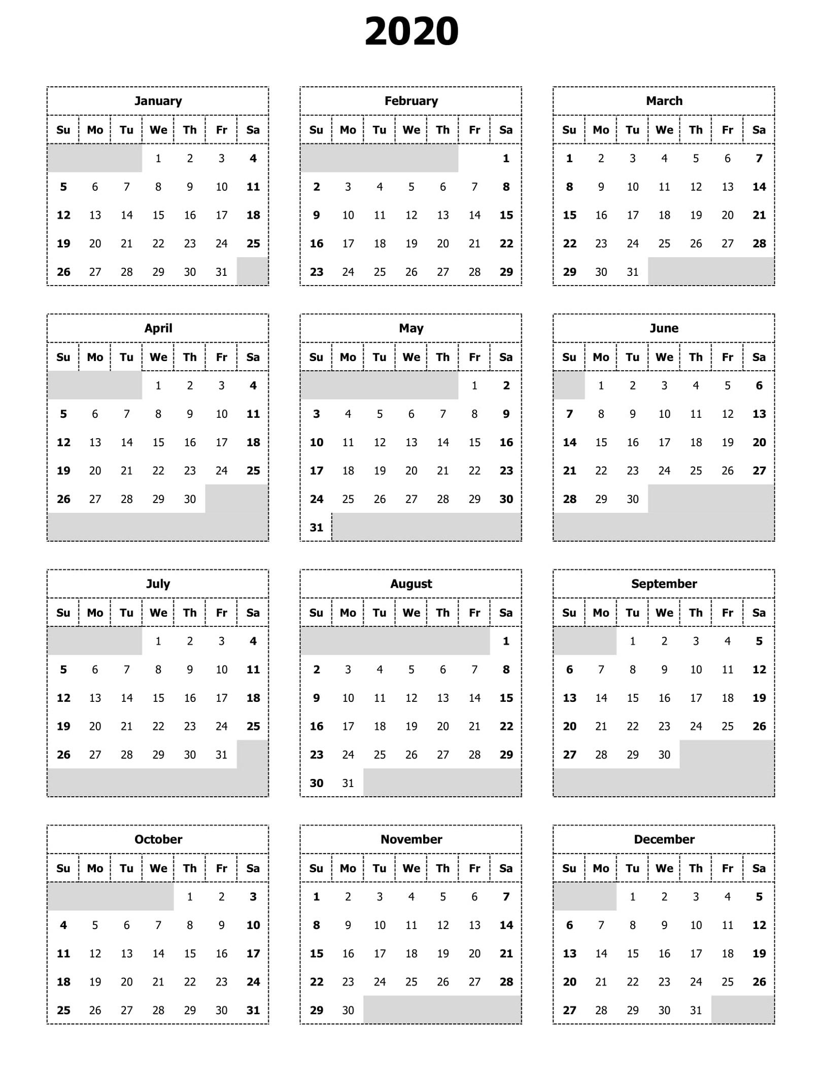 Free 2020 Calendar To Print | 101 Activity