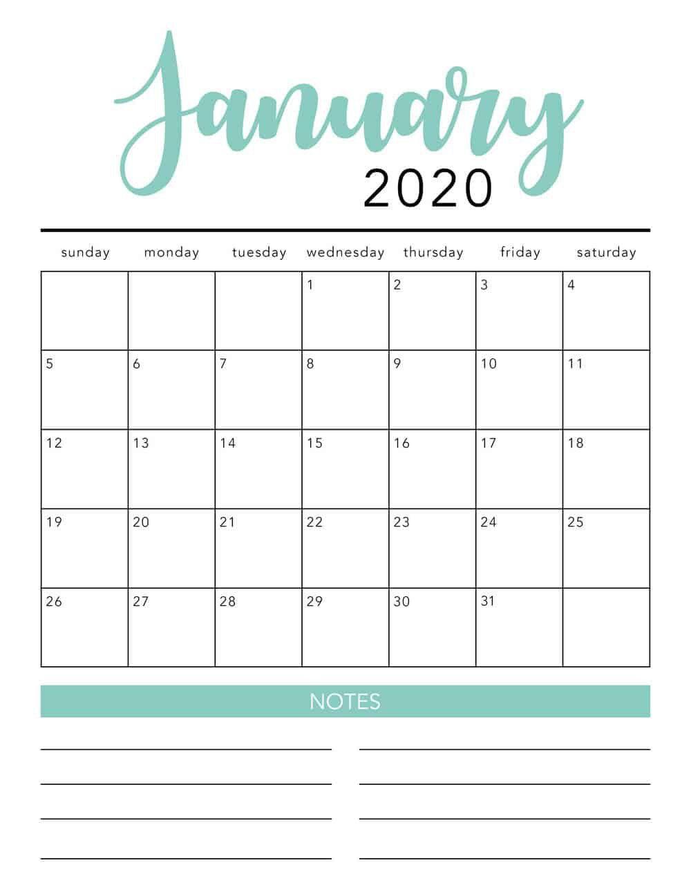 Free 2020 Monthly Calendar Printable | Free Printable