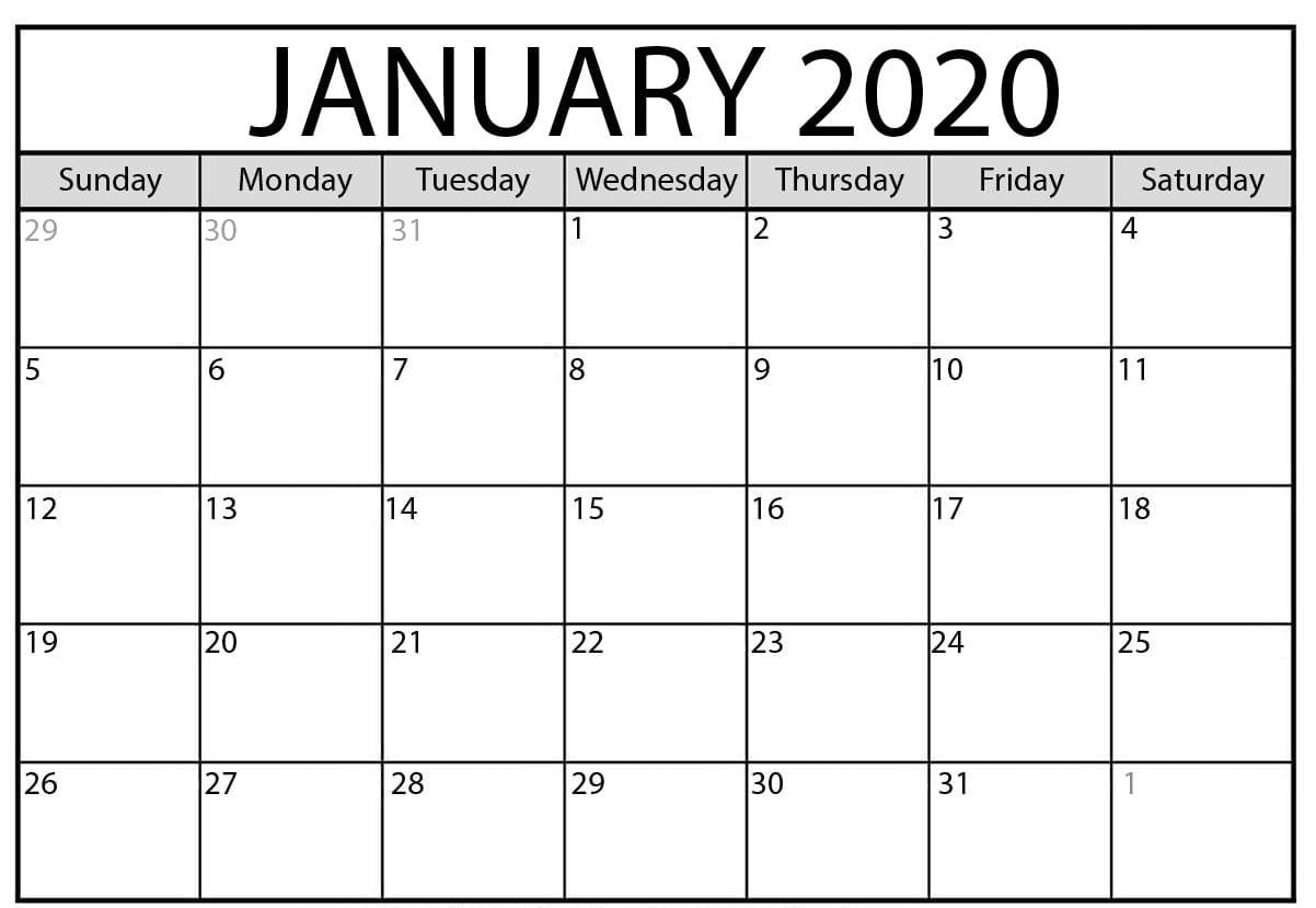 Free Blank January 2020 Calendar Printable Template With Notes