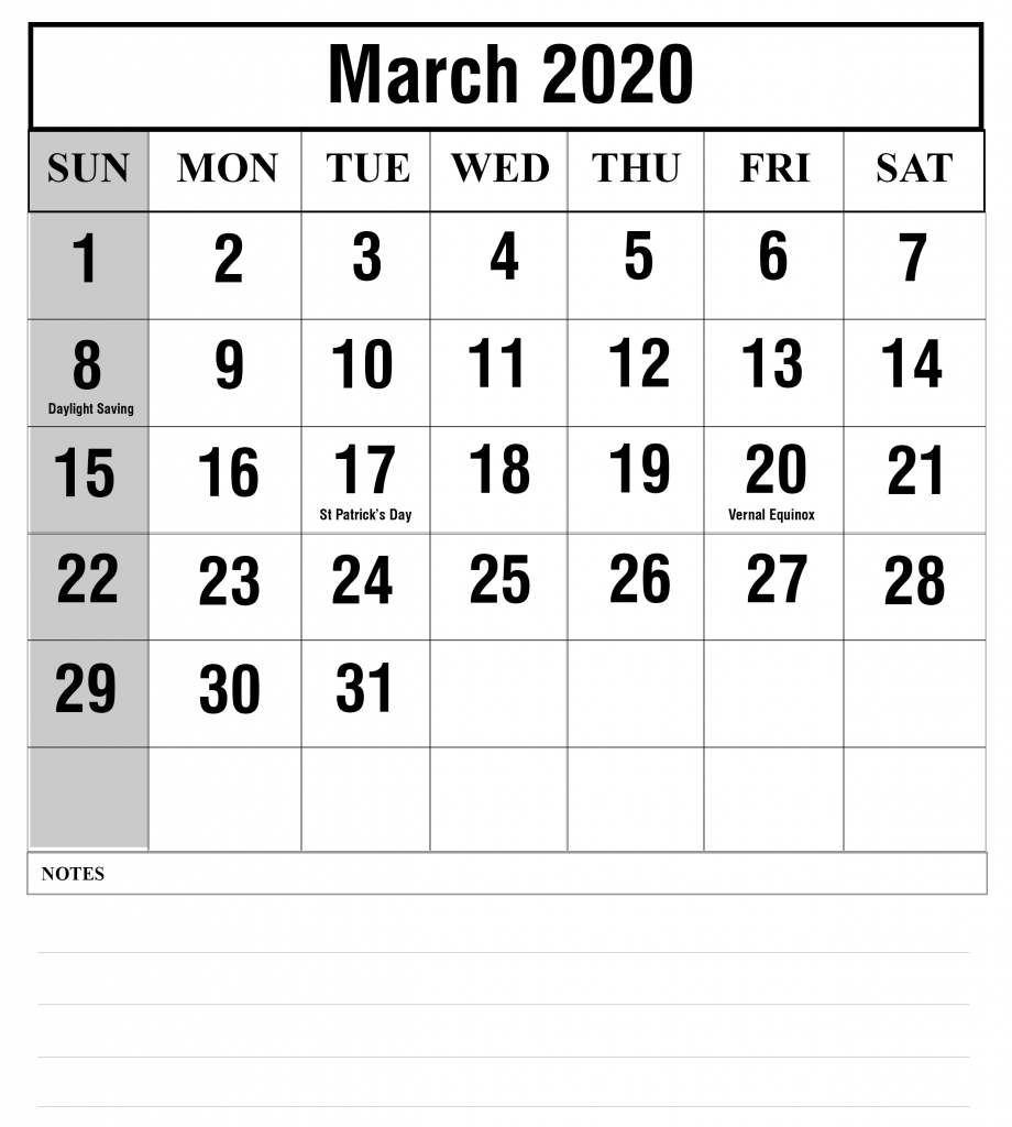 Free Blank March 2020 Fillable Calendar Template To Edit