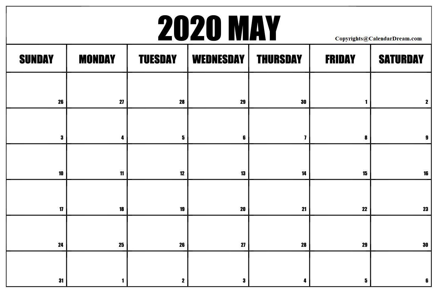 Free Blank May 2020 Printable Calendar Template [Pdf]