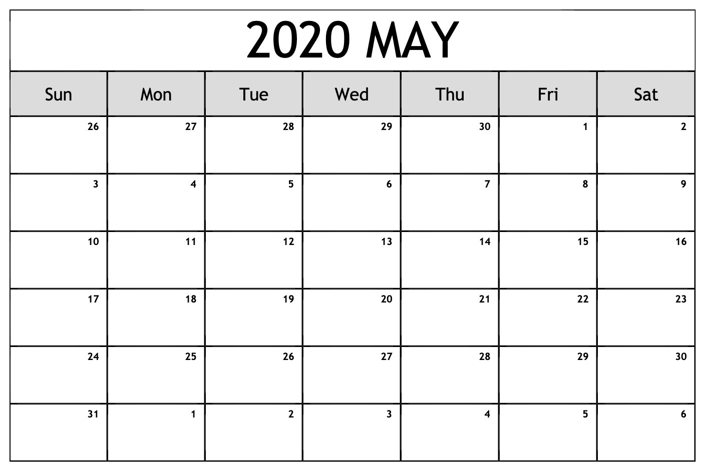 Free Calendar For May 2020 | Free Printable Calendar