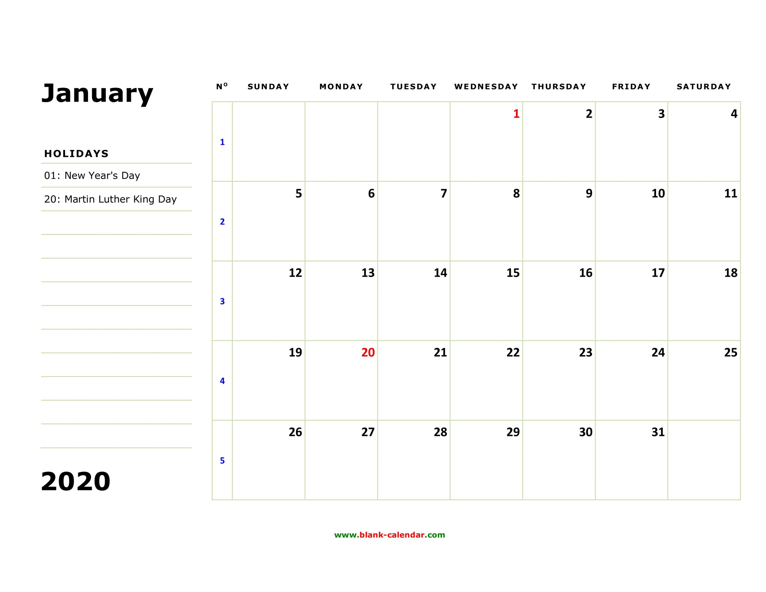 Free Download Printable Calendar 2020, Large Box, Holidays