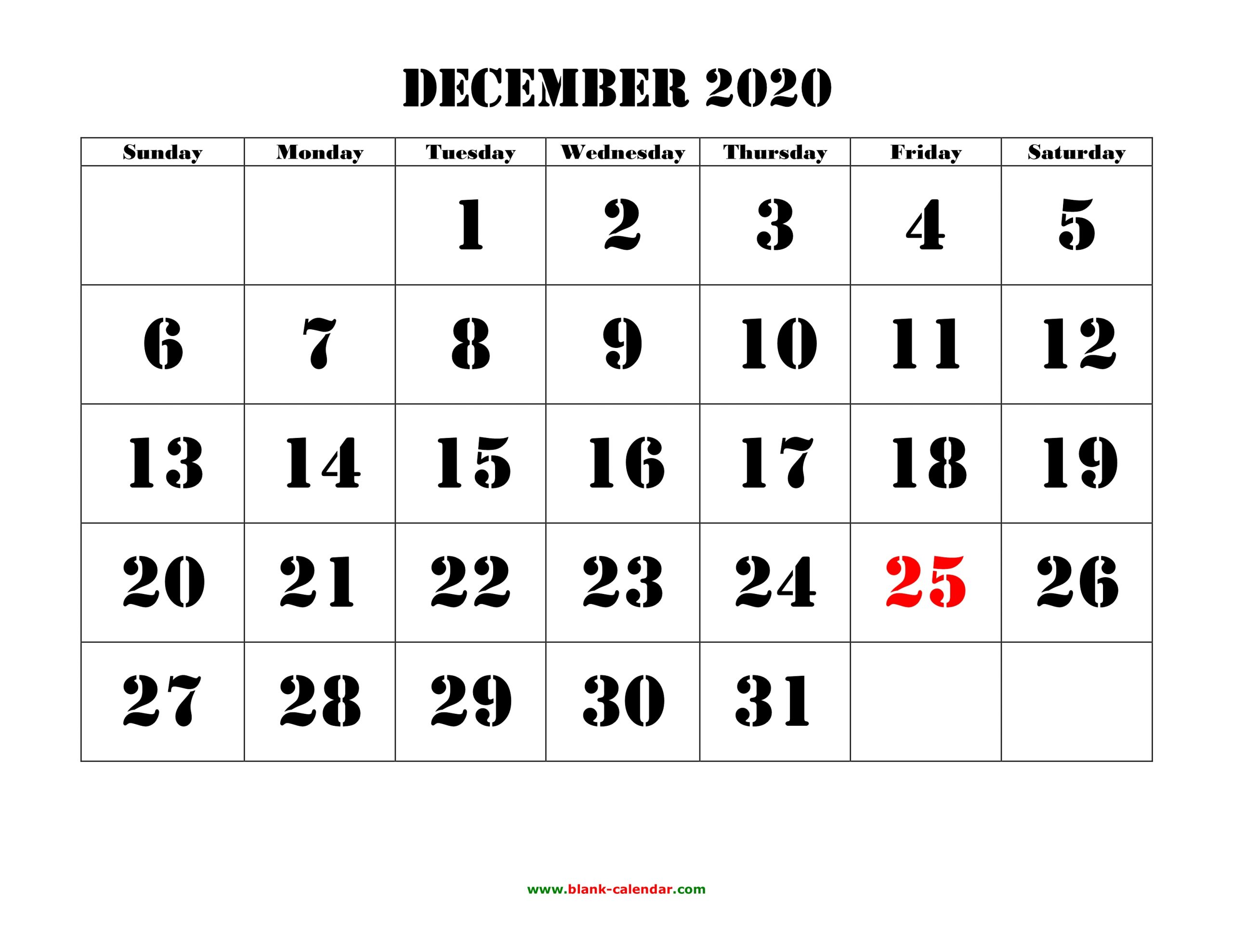 Free Download Printable December 2020 Calendar, Large Font