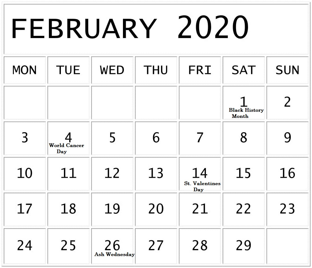 Free February Holidays 2020 Calendar Template In Us, Uk