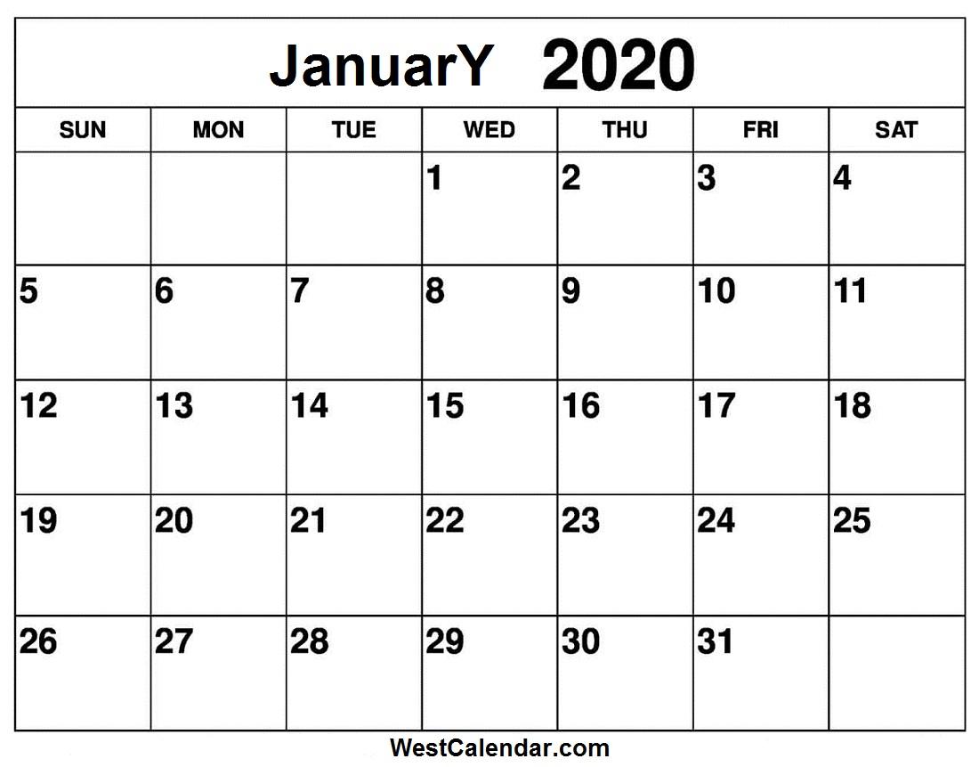 Free January 2020 Calendar Printable - Westcalendar