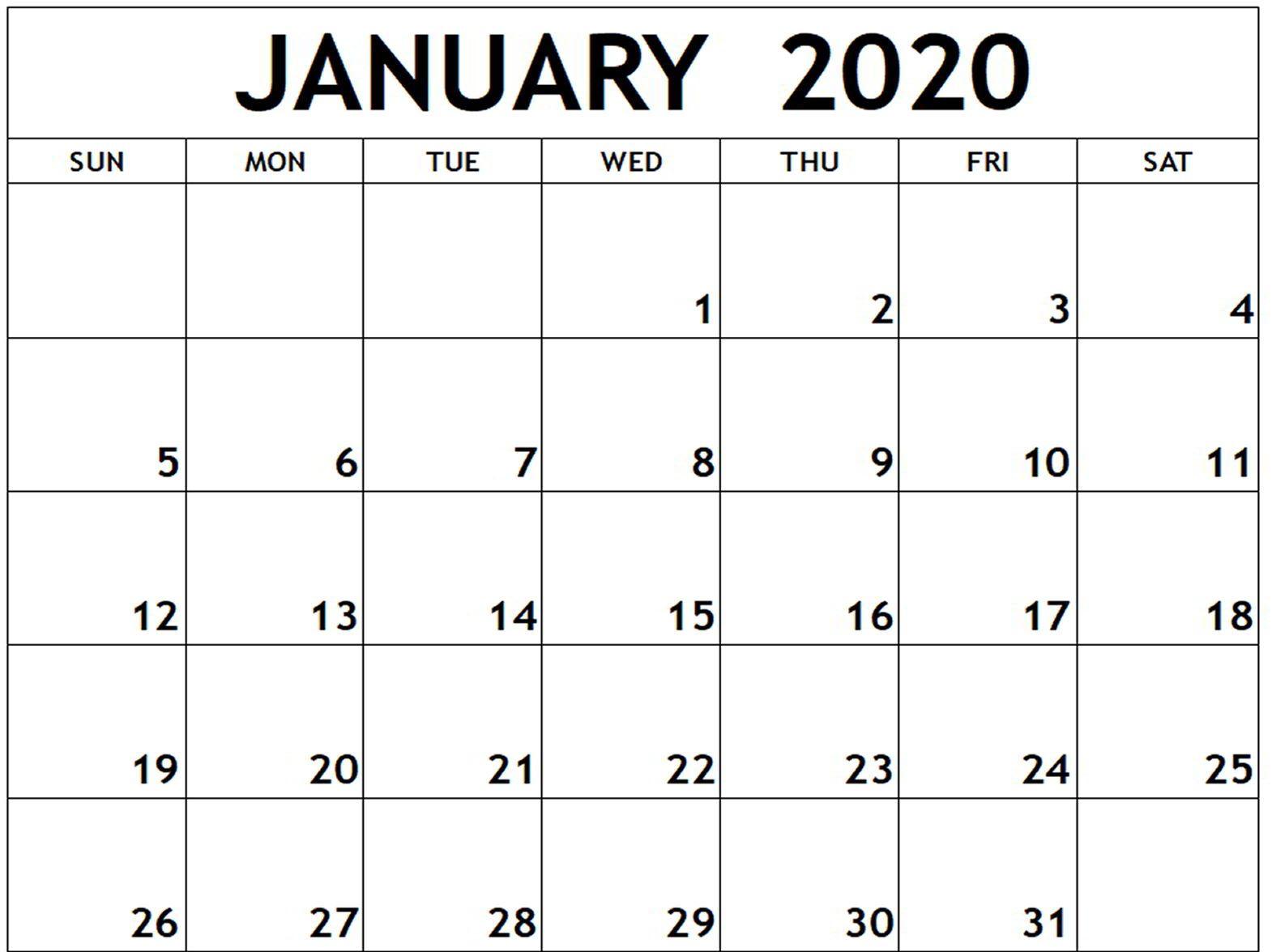 Free January Calendar 2020 Printable Template Download