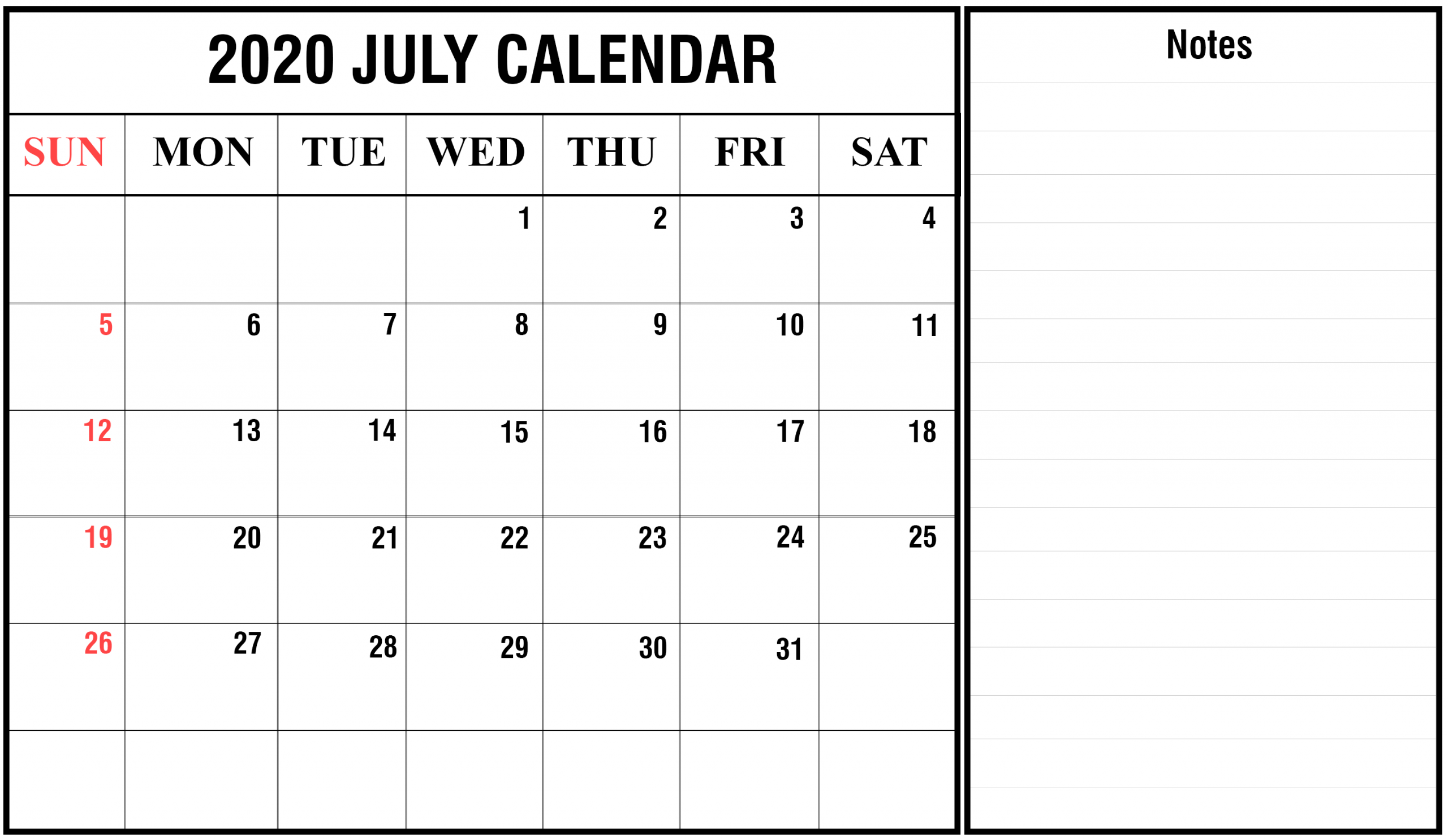 Free Monthly Printable July Calendar 2020 | Blank Printable