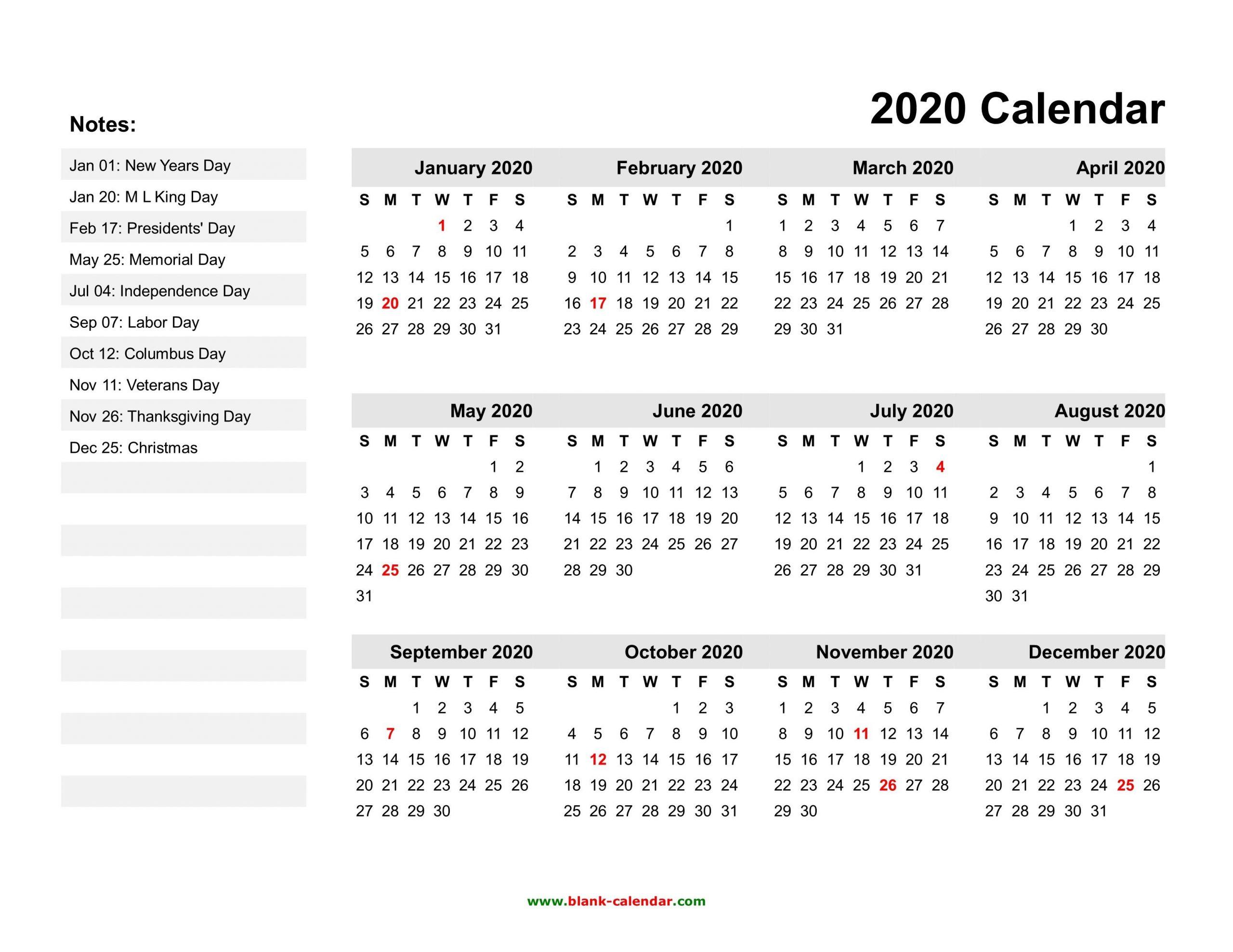Free Printable 2020 Calendars With Holidays | Printable