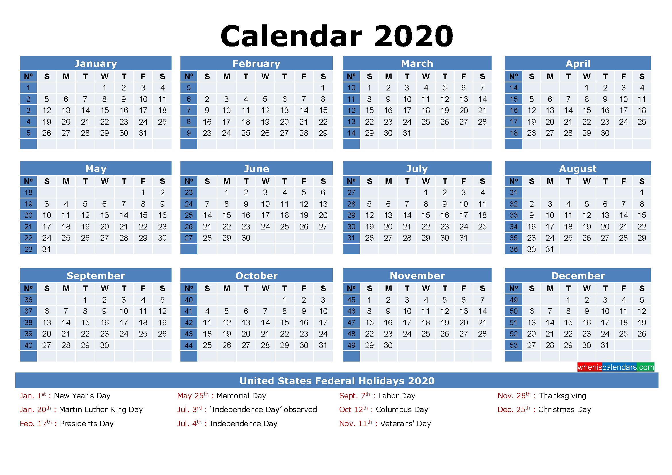 Free Printable 2020 Monthly Calendar With Holidays
