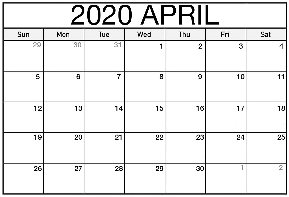 Free Printable April 2020 Calendar Editable Pages | Newsmily