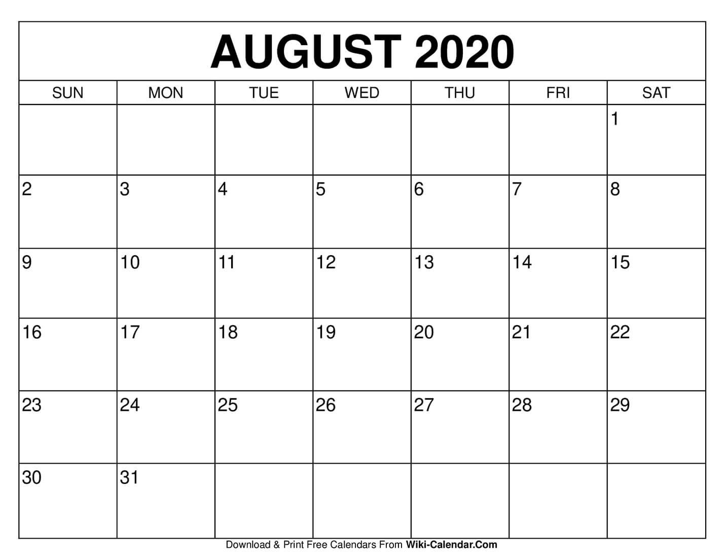 Free Printable August 2020 Calendars
