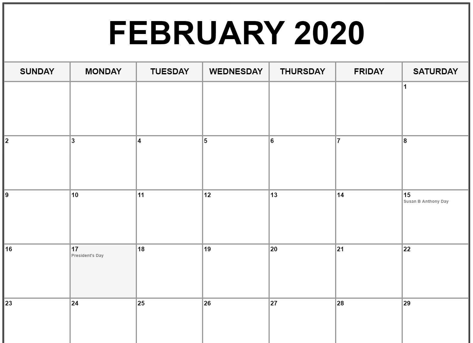 Free Printable February Holidays 2020 Calendar Template