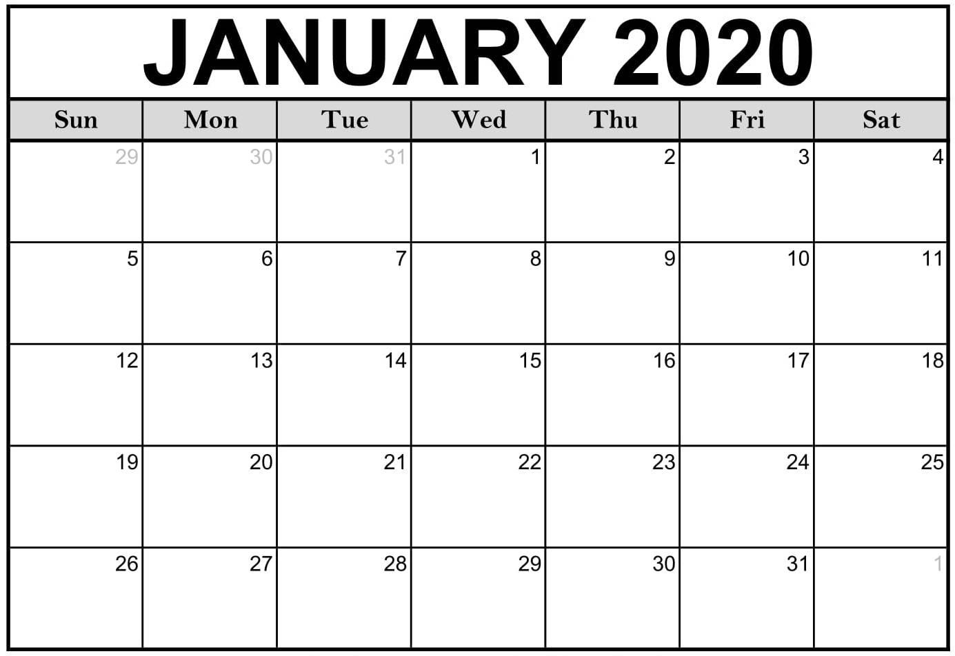 Free Printable January 2020 Calendar Editable Datesheets