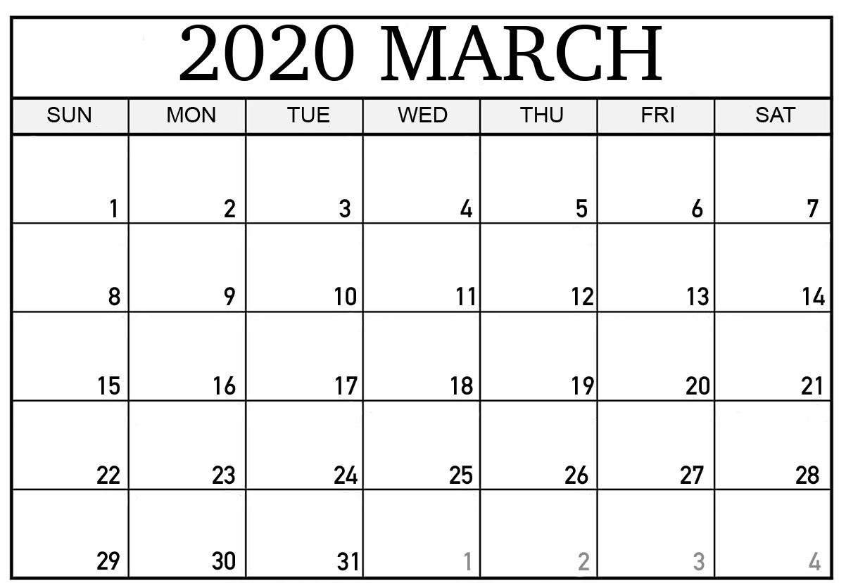 Free Printable March 2020 Calendar Excel | Printable