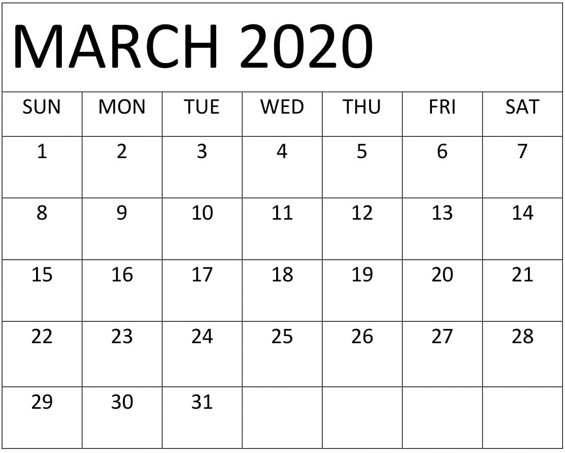 Free Printable March 2020 Calendar Template | Printable