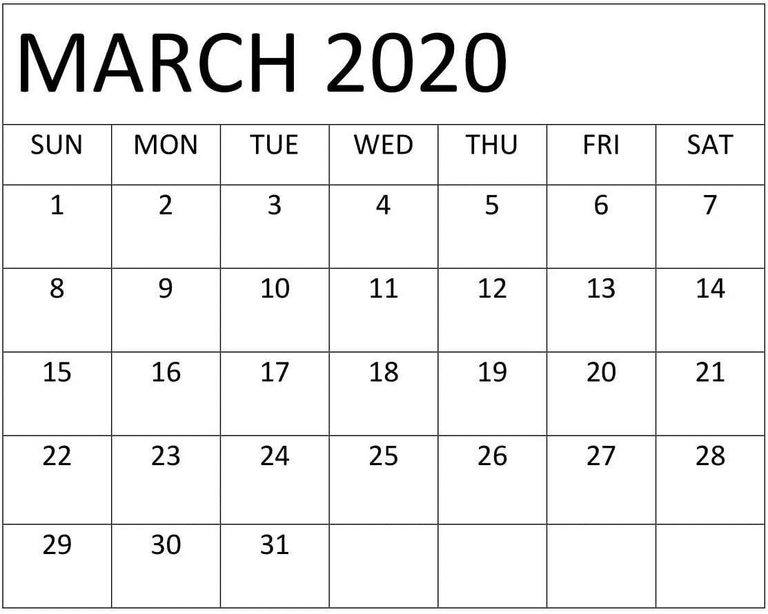 Free Printable March 2020 Calendar Template | Printable