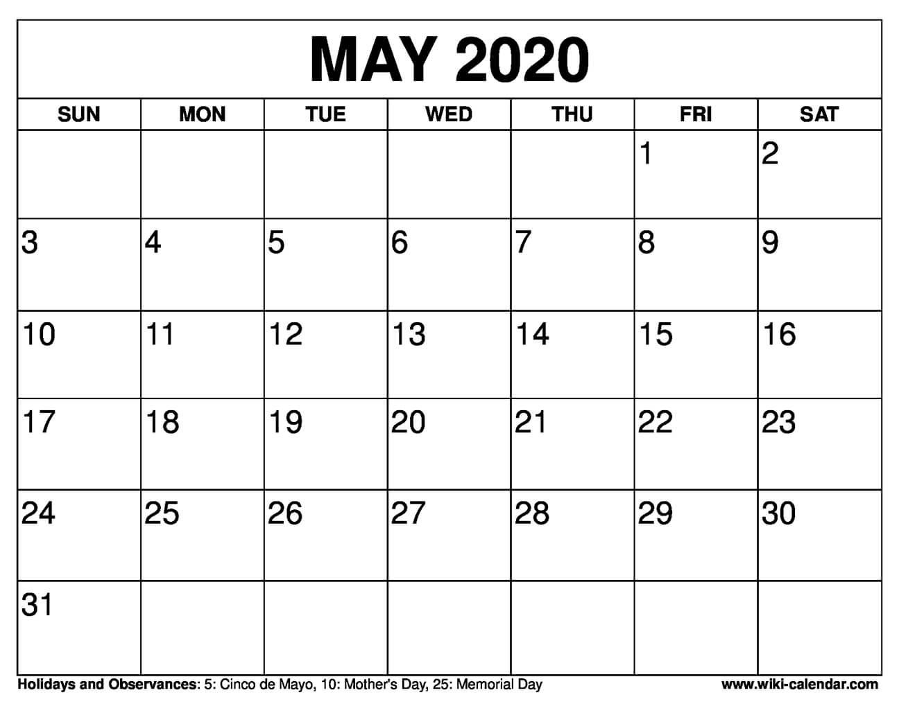 Free Printable May 2020 Calendars