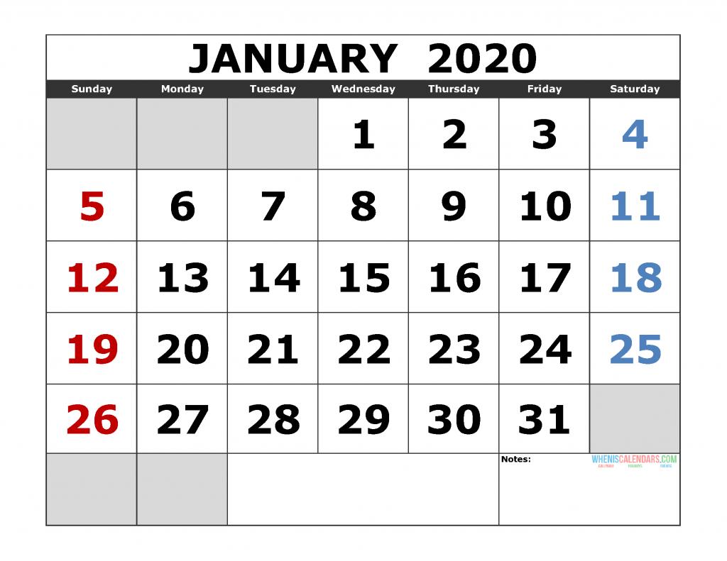 Free Printable Monthly Calendar 2020 Excel, Pdf, Image [Us