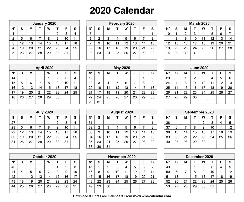 Free Printable Year 2020 Calendar-Printable Calendar 2020