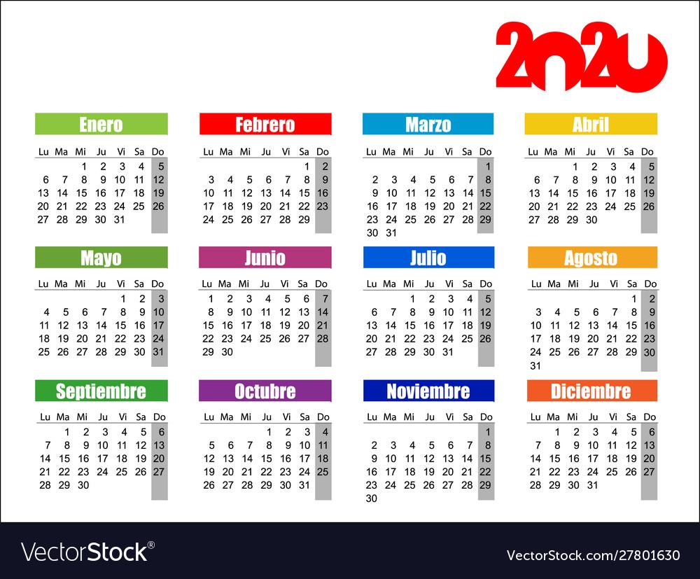 Horizontal Color Pocket Calendar On 2020 Year